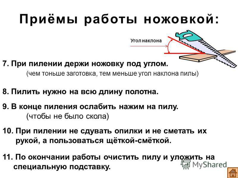 Приёмы работы ножовкой: 7. При пилении держи ножовку под углом. (чем тоньше заготовка, тем меньше угол наклона пилы) 8. Пилить нужно на всю длину полотна. 9. В конце пиления ослабить нажим на пилу. (чтобы не было скола) 10. При пилении не сдувать опи