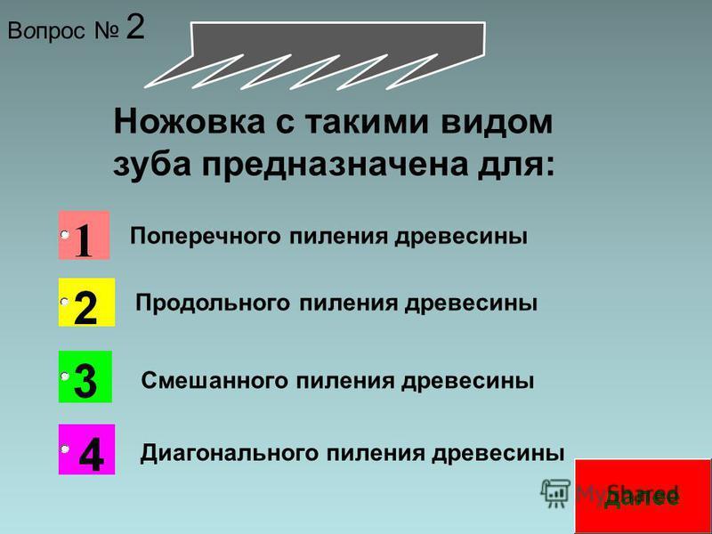 Вопрос 2 Ножовка с такими видом зуба предназначена для: Поперечного пиления древесины Продольного пиления древесины Смешанного пиления древесины Диагонального пиления древесины