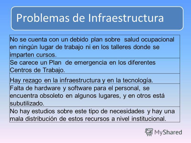 Problemas de Infraestructura No se cuenta con un debido plan sobre salud ocupacional en ningún lugar de trabajo ni en los talleres donde se imparten cursos. Se carece un Plan de emergencia en los diferentes Centros de Trabajo. Hay rezago en la infrae