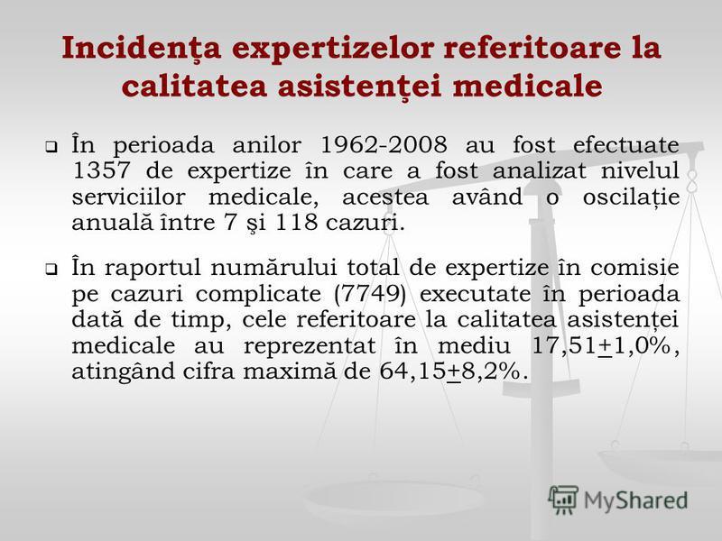 Incidenţa expertizelor referitoare la calitatea asistenţei medicale În perioada anilor 1962-2008 au fost efectuate 1357 de expertize în care a fost analizat nivelul serviciilor medicale, acestea având o oscilaţie anuală între 7 şi 118 cazuri. În rapo