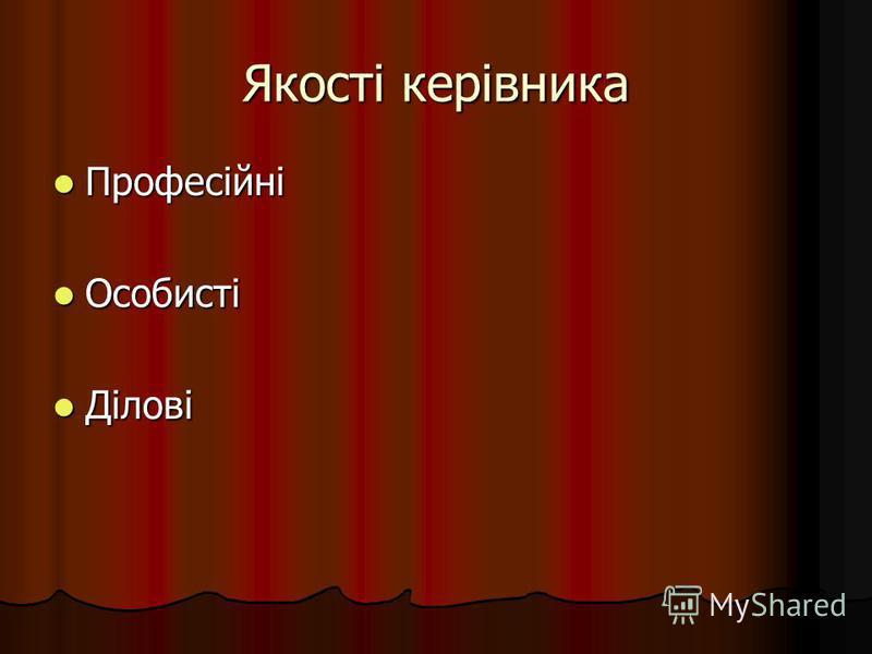 Якості керівника Професійні Професійні Особисті Особисті Ділові Ділові