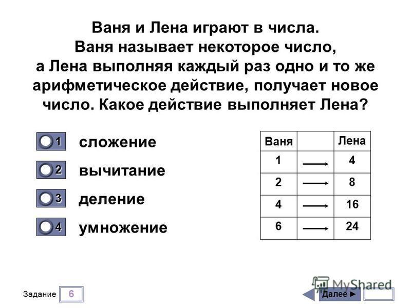 6 Задание сложение вычитание деление умножение Далее 1 0 2 0 3 0 4 1 Ваня и Лена играют в числа. Ваня называет некоторое число, а Лена выполняя каждый раз одно и то же арифметическое действие, получает новое число. Какое действие выполняет Лена? Ваня