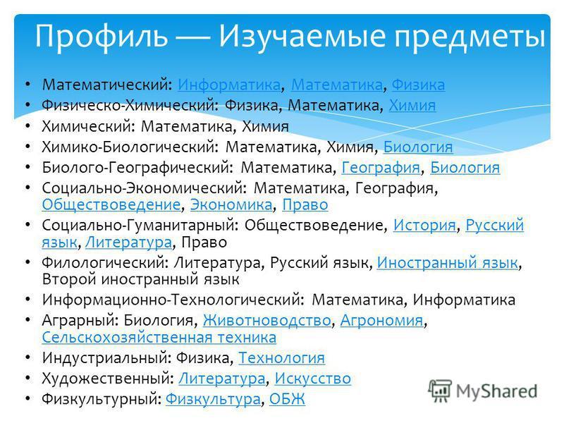 математика, история, русский язык, иностранные языки, физическая культура. Также интегрированные курсы обществоведения (для естественно-математического, технологического и иных возможных профилей), естествознания (для гуманитарного, социально-экономи