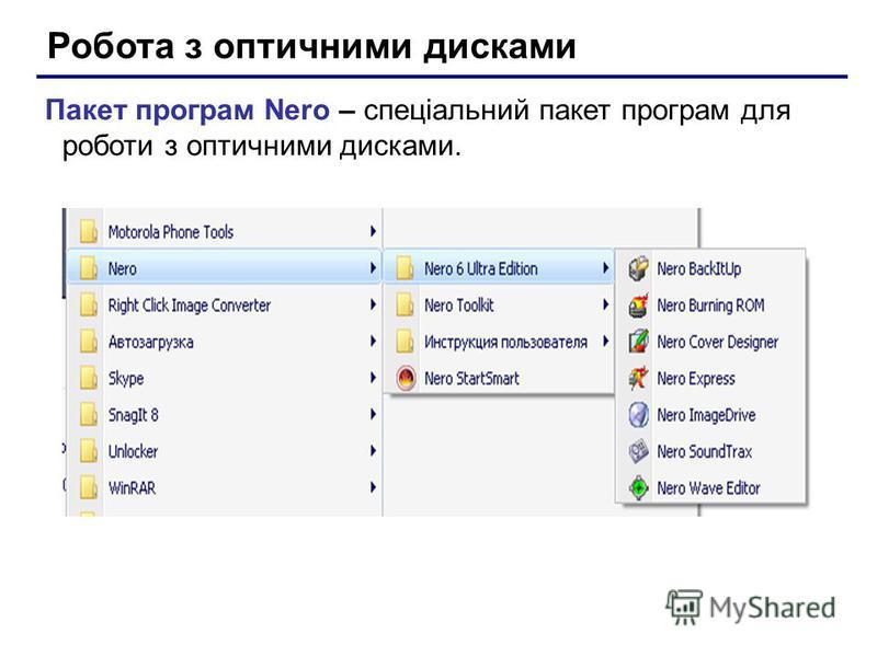 Робота з оптичними дисками Пакет програм Nero – спеціальний пакет програм для роботи з оптичними дисками.