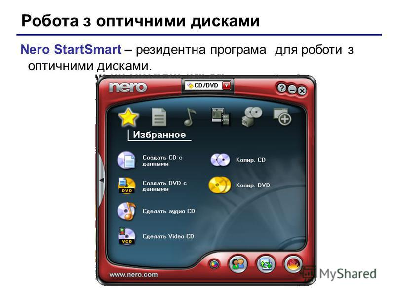 Робота з оптичними дисками Nero StartSmart – резидентна програма для роботи з оптичними дисками.