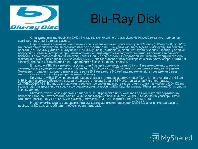 Blu-Ray Disk Слід зазначити, що формати DVD і Blu-ray вельми схожі по структурі дисків і способам запису, принципові відмінності пов'язані з типом лазера. Перша і найважливіша відмінність збільшене значення числової апертури об'єктиву (0,85 проти 0,6