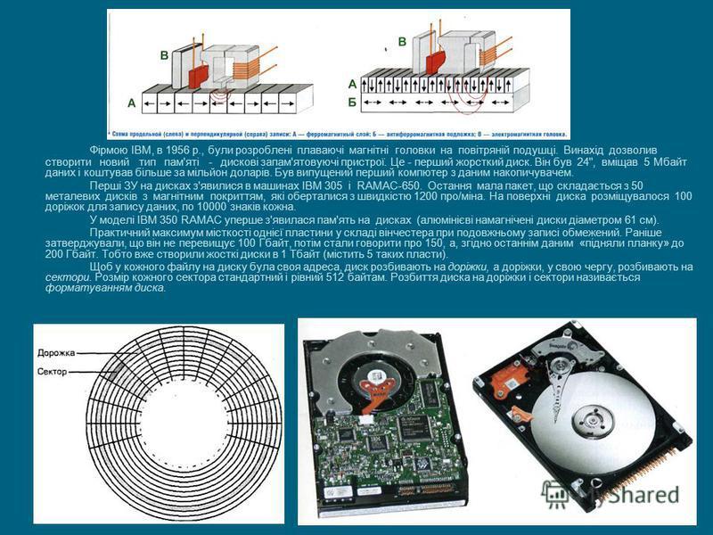 Фірмою IBM, в 1956 р., були розроблені плаваючі магнітні головки на повітряній подушці. Винахід дозволив створити новий тип пам'яті - дискові запам'ятовуючі пристрої. Це - перший жорсткий диск. Він був 24