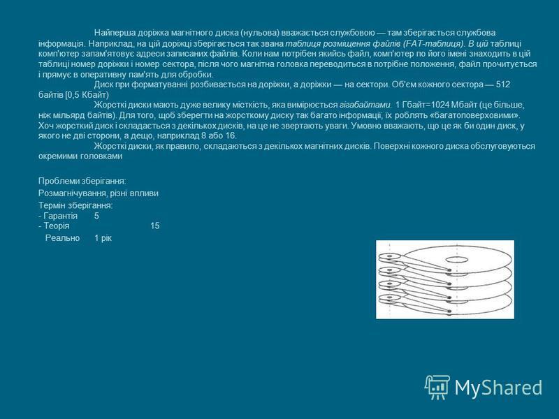 Найперша доріжка магнітного диска (нульова) вважається службовою там зберігається службова інформація. Наприклад, на цій доріжці зберігається так звана таблиця розміщення файлів (FAT-таблиця). В цій таблиці комп'ютер запам'ятовує адреси записаних фай