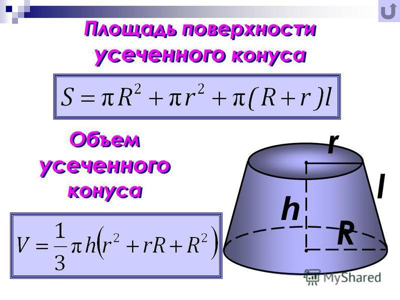 Площадь поверхности усеченного конуса Объем усеченного конуса r R l h