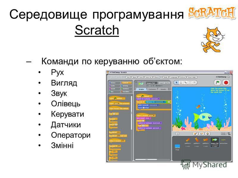 Середовище програмування Scratch –Команди по керуванню обєктом: Рух Вигляд Звук Олівець Керувати Датчики Оператори Змінні