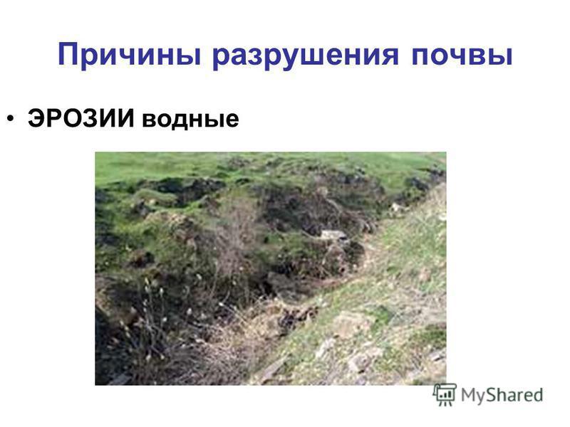 Причины разрушения почвы ЭРОЗИИ водные