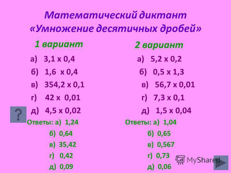 Математический диктант «Умножение десятичных дробей» 1 вариант а) 3,1 х 0,4 б) 1,6 х 0,4 в) 354,2 х 0,1 г) 42 х 0,01 д) 4,5 х 0,02 Ответы: а) 1,24 б) 0,64 в) 35,42 г) 0,42 д) 0,09 2 вариант а) 5,2 х 0,2 б) 0,5 х 1,3 в) 56,7 х 0,01 г) 7,3 х 0,1 д) 1,5
