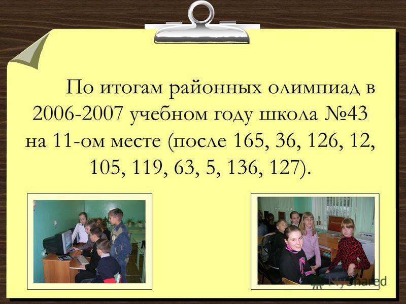 По итогам районных олимпиад в 2006-2007 учебном году школа 43 на 11-ом месте (после 165, 36, 126, 12, 105, 119, 63, 5, 136, 127).