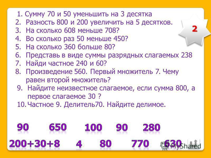 1.Вычисли: Сумму чисел 80 и 60 уменьшить на 2 десятка 2. Разность чисел 900 и 700 увеличьте на 4 десятка 3. Составь пример: на сколько 600 больше 593? 4. Уменьшаемое 850, разность 300. Найди вычитаемое. 5. Во сколько раз 60 меньше 480?. 6. Представь