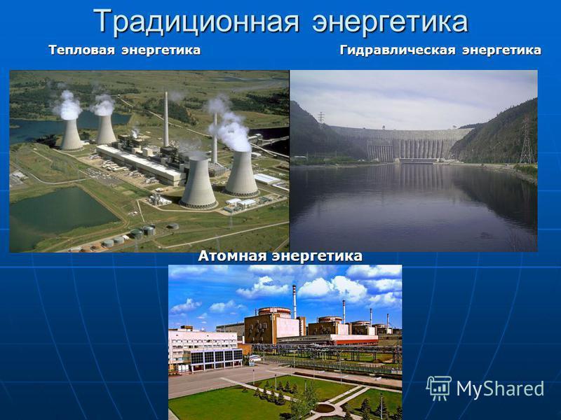 Традиционная энергетика Тепловая энергетика Гидравлическая энергетика Атомная энергетика