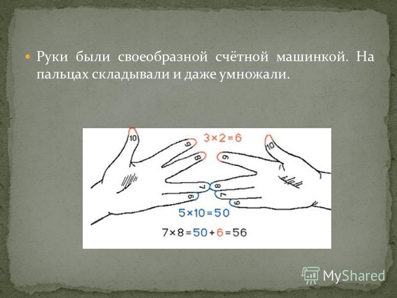 Руки были своеобразной счётной машинкой. На пальцах складывали и даже умножали.