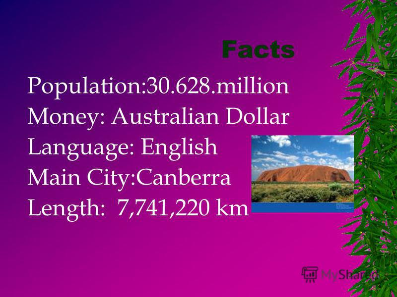 Facts Population:30.628.million Money: Australian Dollar Language: English Main City:Canberra Length: 7,741,220 km
