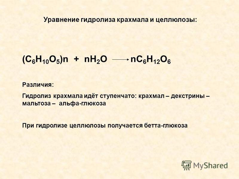 Уравнение гидролиза крахмала и целлюлозы: (С 6 Н 10 О 5 )n + nН 2 О nС 6 Н 12 О 6 Различия: Гидролиз крахмала идёт ступенчато: крахмал – декстрины – мальтоза – альфа-глюкоза При гидролизе целлюлозы получается бета-глюкоза