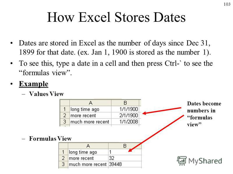 103 How Excel Stores Dates Dates are stored in Excel as the number of days since Dec 31, 1899 for that date. (ex. Jan 1, 1900 is stored as the number 1). To see this, type a date in a cell and then press Ctrl-` to see the formulas view. Example –Valu