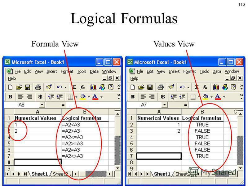 113 Logical Formulas Formula ViewValues View