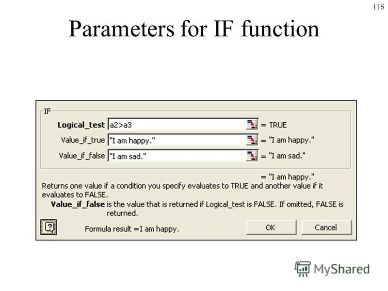 116 Parameters for IF function