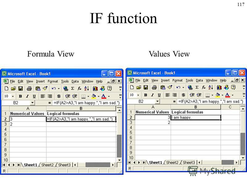 117 IF function Formula ViewValues View