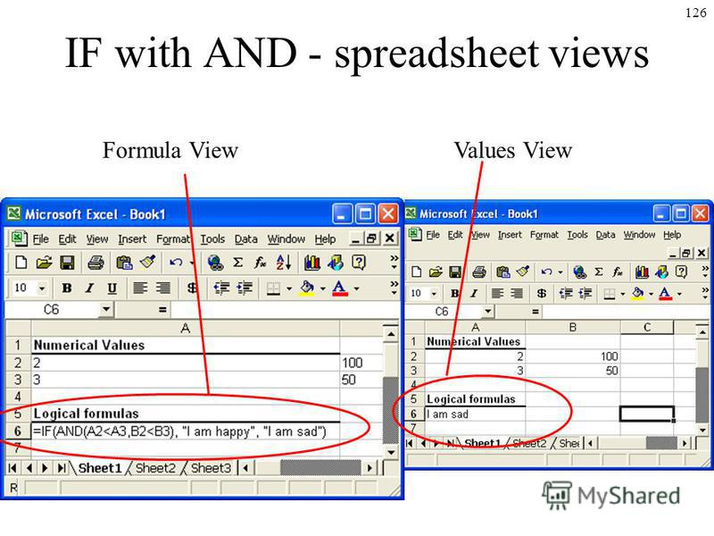 126 IF with AND - spreadsheet views Formula ViewValues View