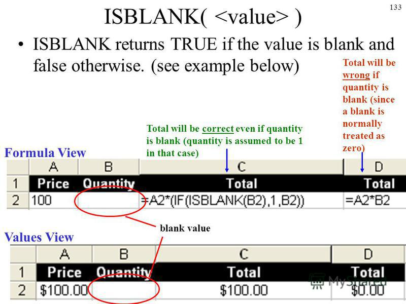 133 ISBLANK( ) ISBLANK returns TRUE if the value is blank and false otherwise. (see example below) Formula View Values View blank value Total will be wrong if quantity is blank (since a blank is normally treated as zero) Total will be correct even if