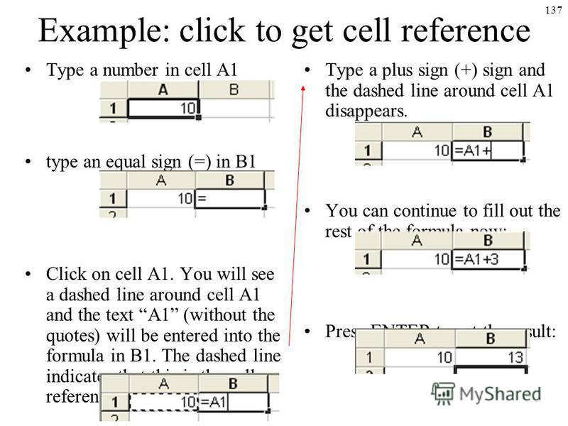 137 Example: click to get cell reference Type a number in cell A1 type an equal sign (=) in B1 Click on cell A1. You will see a dashed line around cell A1 and the text A1 (without the quotes) will be entered into the formula in B1. The dashed line in
