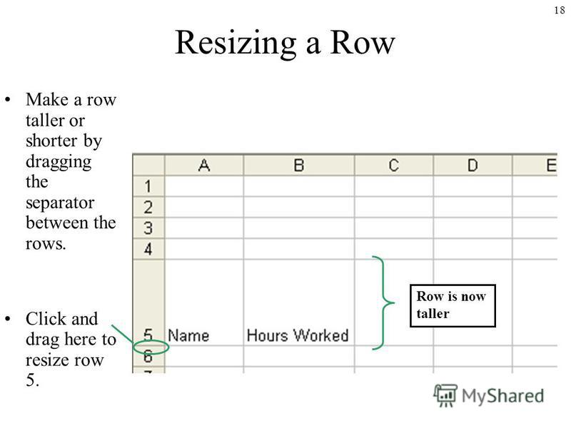 18 Resizing a Row Make a row taller or shorter by dragging the separator between the rows. Click and drag here to resize row 5. Row is now taller