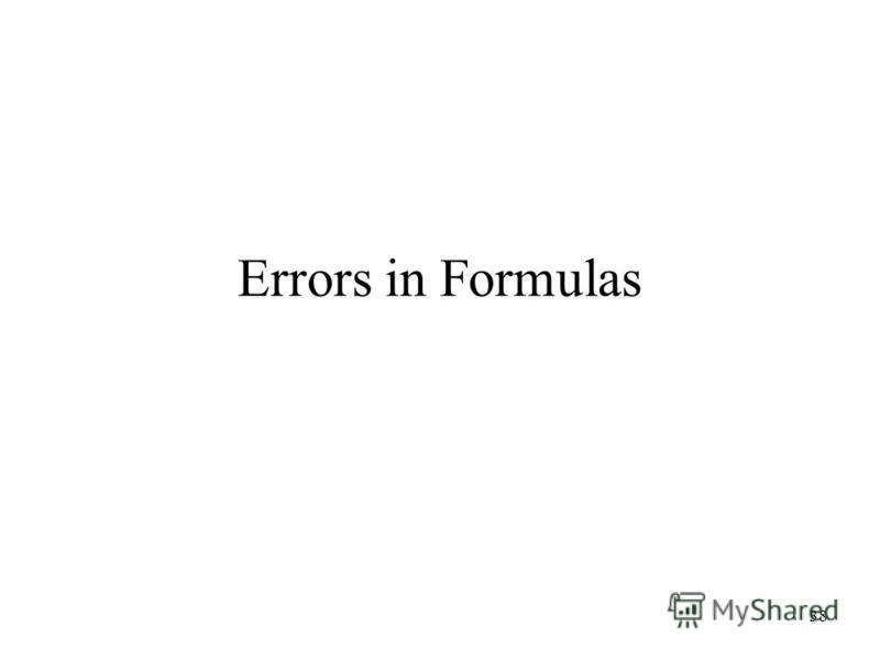 38 Errors in Formulas