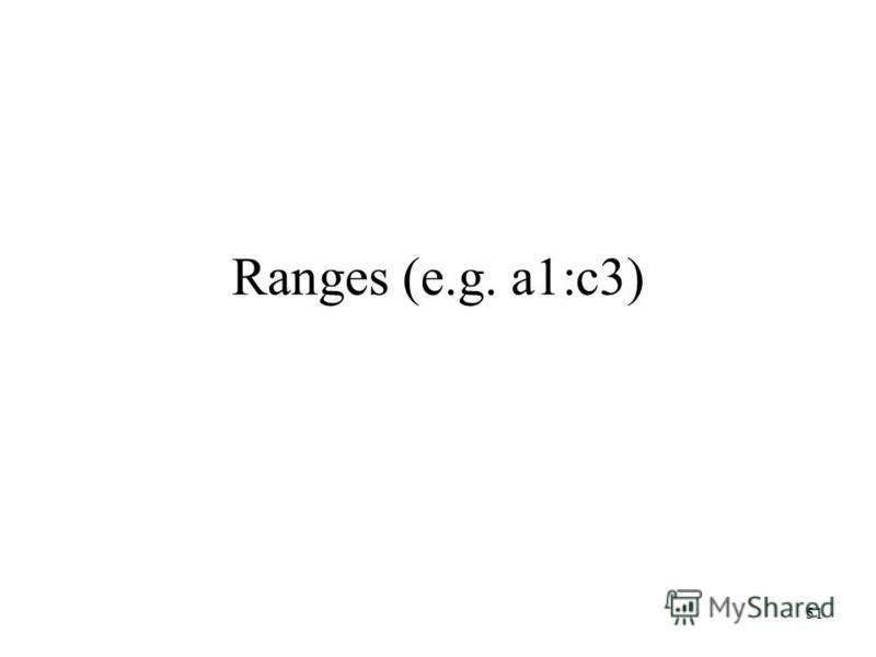 Ranges (e.g. a1:c3) 51