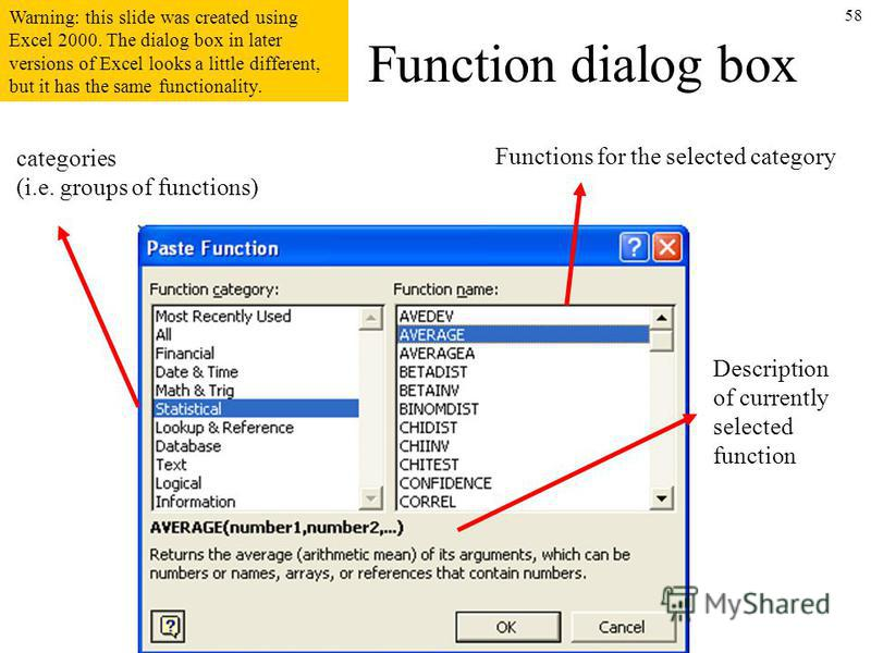 58 Function dialog box categories (i.e. groups of functions) Functions for the selected category Description of currently selected function Warning: this slide was created using Excel 2000. The dialog box in later versions of Excel looks a little dif