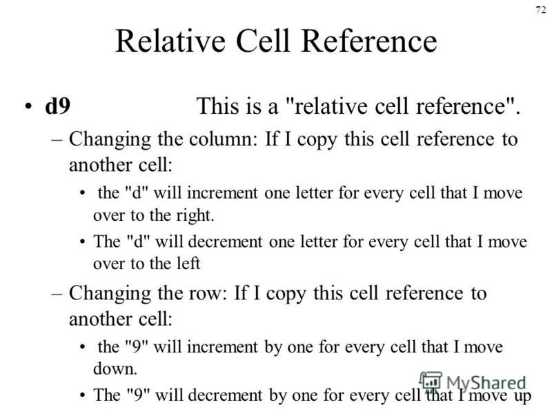 72 Relative Cell Reference d9 This is a