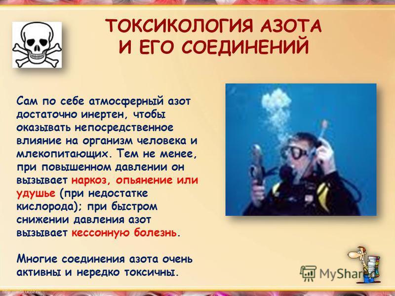 ТОКСИКОЛОГИЯ АЗОТА И ЕГО СОЕДИНЕНИЙ Сам по себе атмосферный азот достаточно инертен, чтобы оказывать непосредственное влияние на организм человека и млекопитающих. Тем не менее, при повышенном давлении он вызывает наркоз, опьянение или удушье (при не