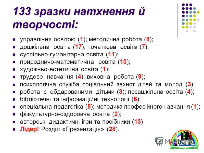 управління освітою (1); методична робота (8); дошкільна освіта (17); початкова освіта (7); суспільно-гуманітарна освіта (11); природничо-математична освіта (10); художньо-естетична освіта (1); трудове навчання (4); виховна робота (9); психологічна сл