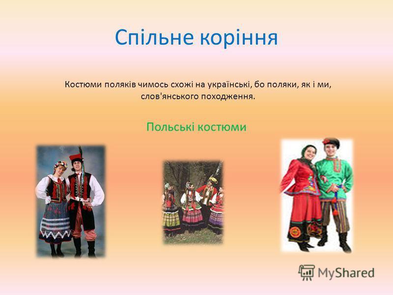 Спільне коріння Костюми поляків чимось схожі на українські, бо поляки, як і ми, слов'янського походження. Польські костюми