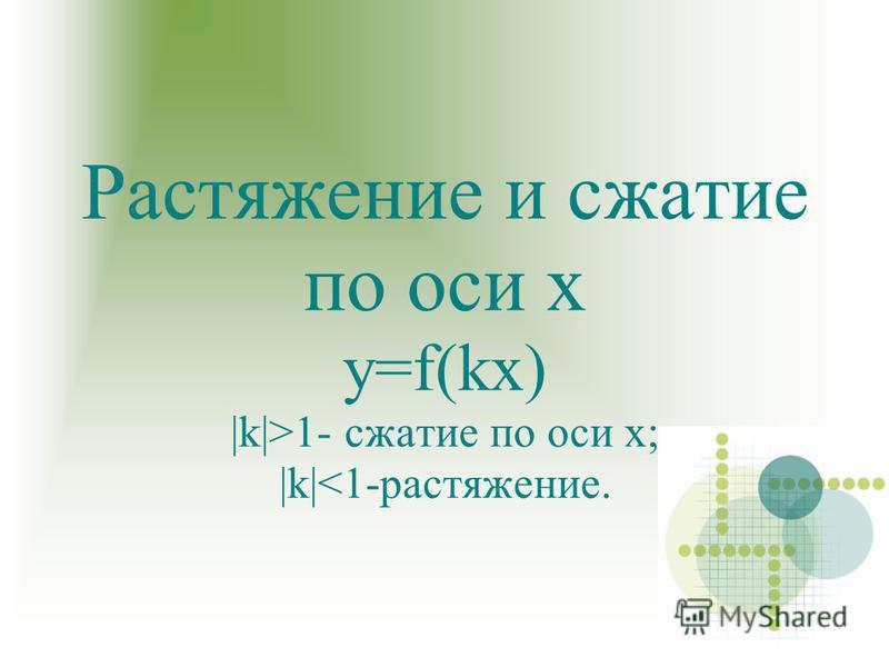 Растяжение и сжатие по оси х y=f(kx)  k >1- сжатие по оси х;  k <1-растяжение.