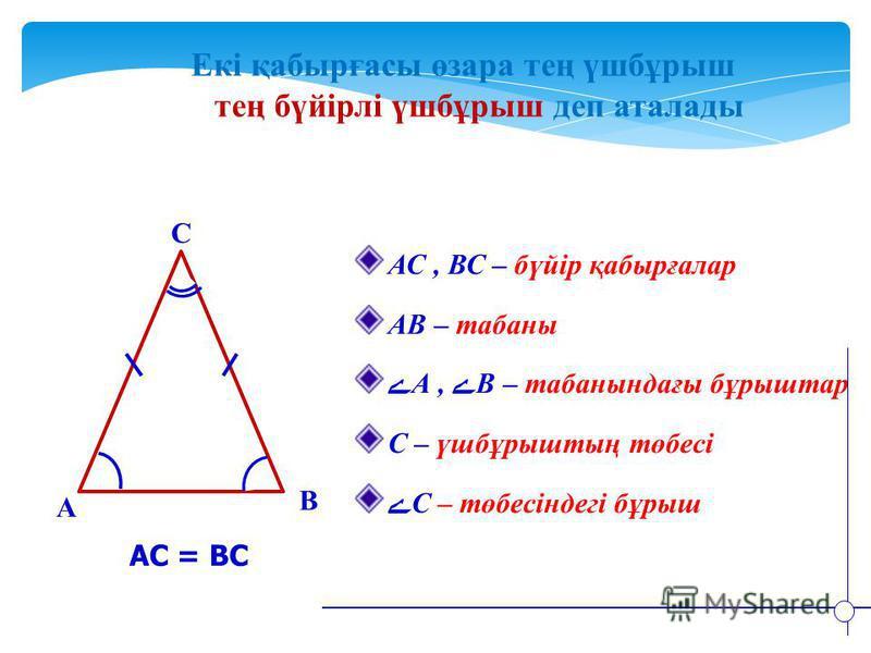 Екі қабырғасы өзара тең үшбұрыш тең бүйірлі үшбұрыш деп аталады B A C АС, ВС – бүйір қабырғалар АВ – табаны ےА, ےВ – табанындағы бұрыштар С – үшбұрыштың төбесі ےС – төбесіндегі бұрыш АС = ВС