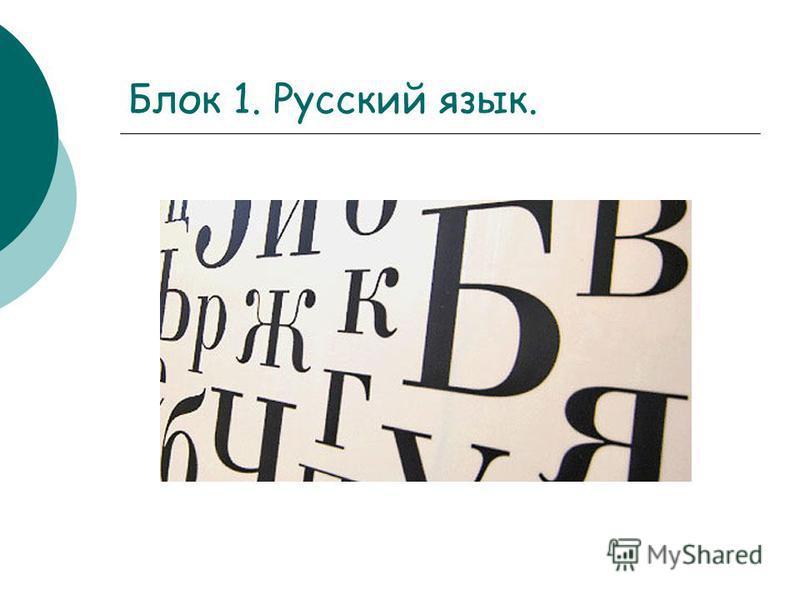 Блок 1. Русский язык.