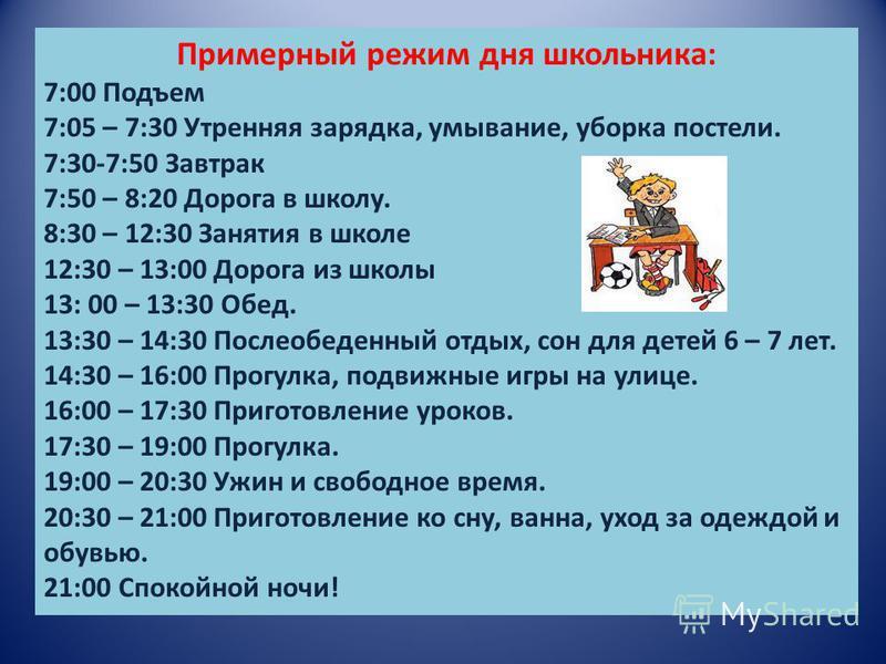 Примерный режим дня школьника: 7:00 Подъем 7:05 – 7:30 Утренняя зарядка, умывание, уборка постели. 7:30-7:50 Завтрак 7:50 – 8:20 Дорога в школу. 8:30 – 12:30 Занятия в школе 12:30 – 13:00 Дорога из школы 13: 00 – 13:30 Обед. 13:30 – 14:30 Послеобеден