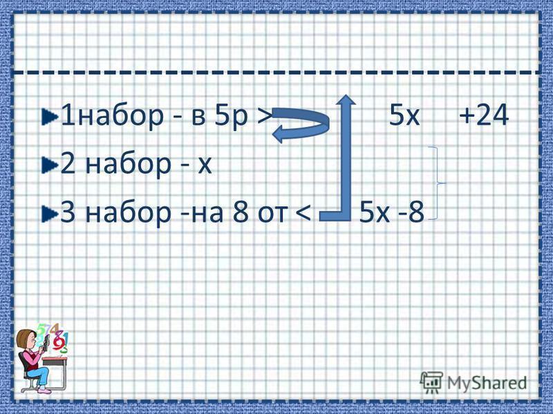 1 набор - в 5 р > 5 х +24 2 набор - х 3 набор -на 8 от < 5 х -8