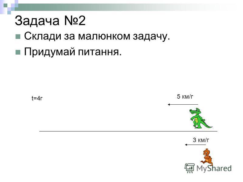 Задача 2 Склади за малюнком задачу. Придумай питання. 3 км/г 5 км/г t=4г