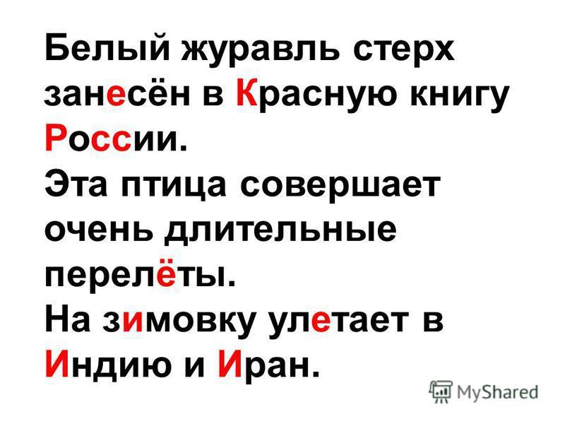 Белый журавль стерх занесён в Красную книгу России. Эта птица совершает очень длительные перелёты. На зимовку улетает в Индию и Иран.