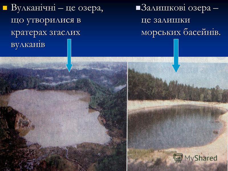 Вулканічні – це озера, що утворилися в кратерах згаслих вулканів Вулканічні – це озера, що утворилися в кратерах згаслих вулканів Залишкові озера – це залишки морських басейнів.