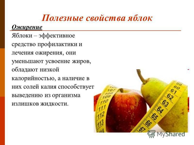 Ожирение Яблоки – эффективное средство профилактики и лечения ожирения, они уменьшают усвоение жиров, обладают низкой калорийностью, а наличие в них солей калия способствует выведению из организма излишков жидкости. Полезные свойства яблок