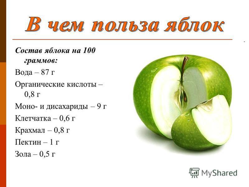 Состав яблока на 100 граммов: Вода – 87 г Органические кислоты – 0,8 г Моно- и дисахариды – 9 г Клетчатка – 0,6 г Крахмал – 0,8 г Пектин – 1 г Зола – 0,5 г
