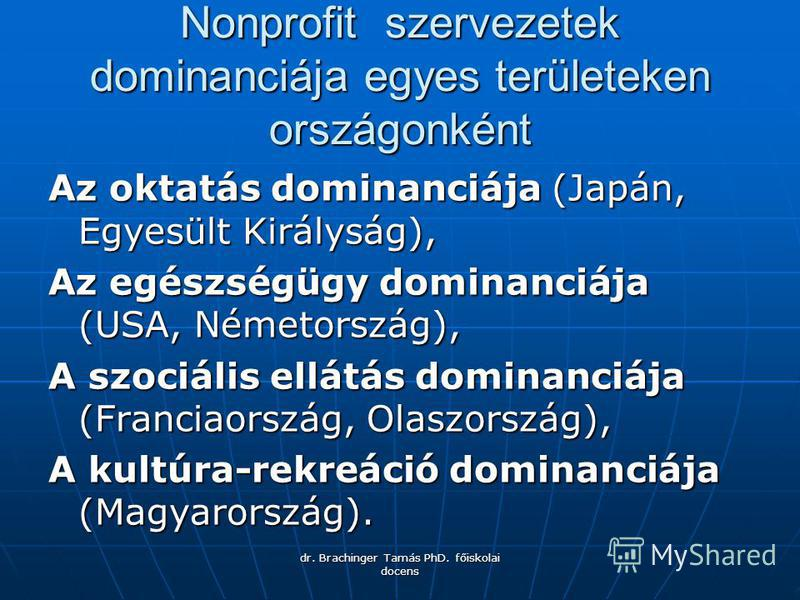 dr. Brachinger Tamás PhD. főiskolai docens Nonprofit szervezetek dominanciája egyes területeken országonként Az oktatás dominanciája (Japán, Egyesült Királyság), Az egészségügy dominanciája (USA, Németország), A szociális ellátás dominanciája (Franci