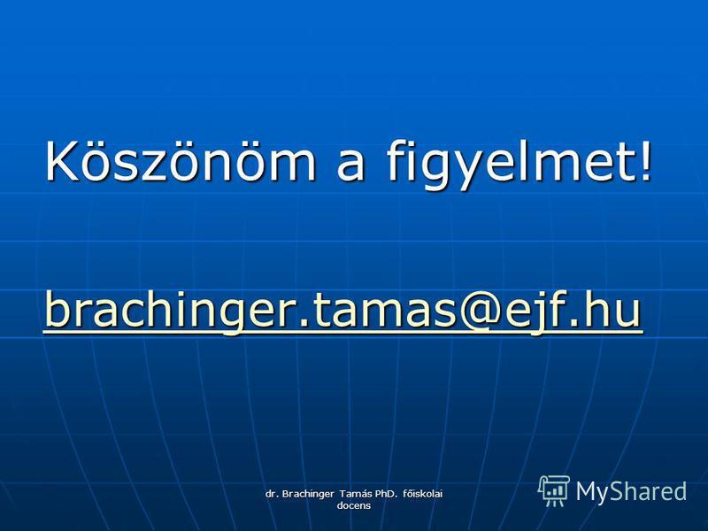 dr. Brachinger Tamás PhD. főiskolai docens Köszönöm a figyelmet! brachinger.tamas@ejf.hu