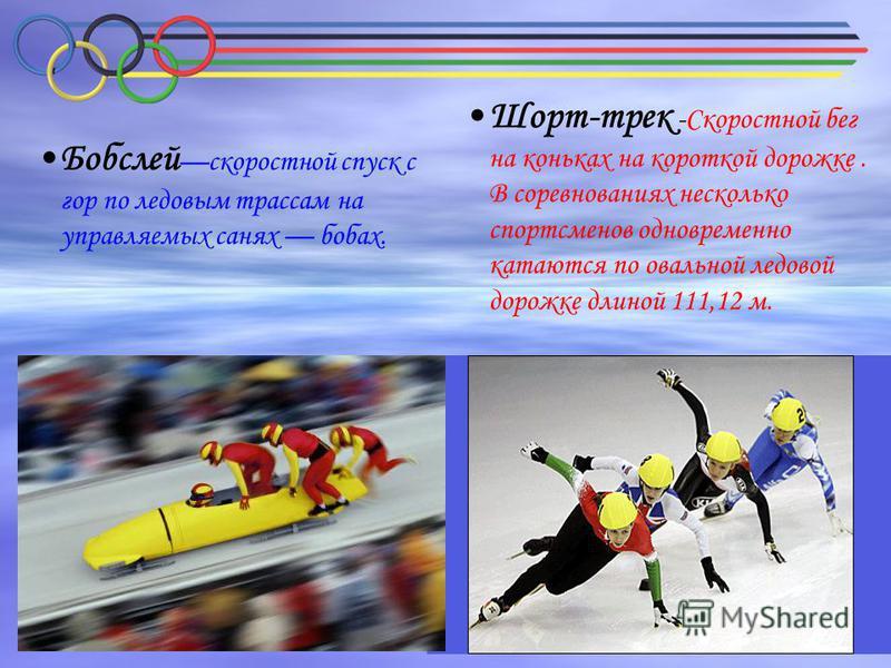 Шорт-трек -Скоростной бег на коньках на короткой дорожке. В соревнованиях несколько спортсменов одновременно катаются по овальной ледовой дорожке длиной 111,12 м. Бобслей скоростной спуск с гор по ледовым трассам на управляемых санях бобах.